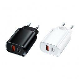 Adaptateur 1*USB-C 1*USB Charge Rapide 20W 3A - Usams