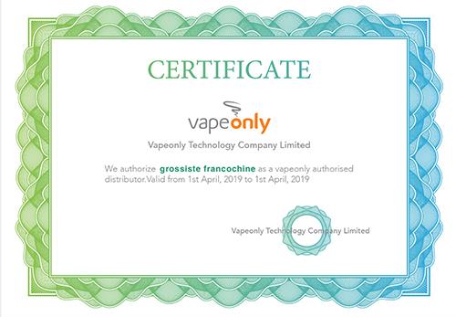 certificat vapeonly deux